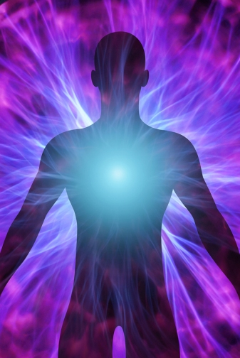illustration of human body with energy beams